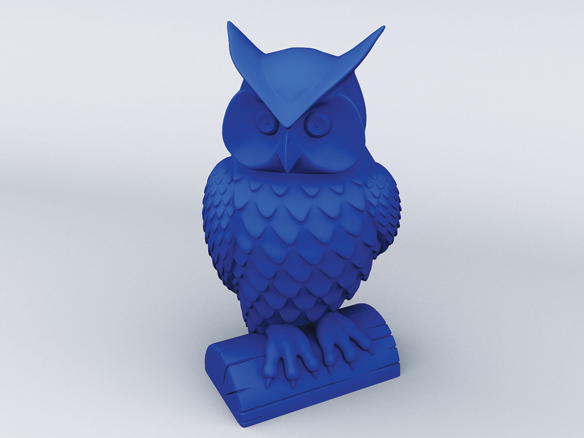 3D rendering of a blue 3D printed owl statue, head slightly turned to the left