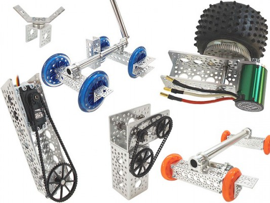 These high quality parts will take your robotics project to the next level. Precision made metal channel and brackets, sprockets and pulleys, fasteners and hardware are all designed to work together. I especially like the motors and servos with mounting hardware and gearboxes integrated right in.