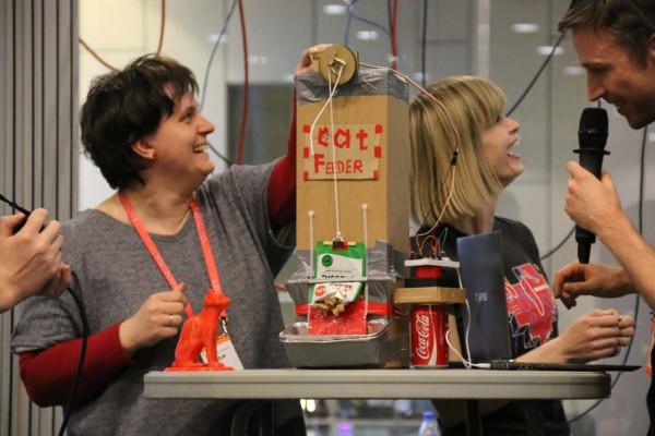 This automated cat feeder featured an ingenious hack to empty the catfood into the bowl. The team won 2nd place in the hackathon for their creativity and execution.