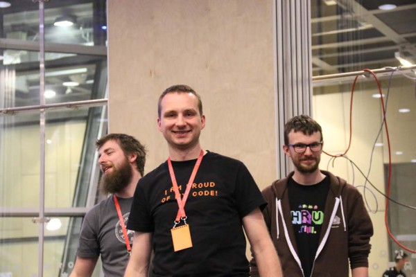 The winning team, creators of the Turtlebot, was very happy to win the hackathon!