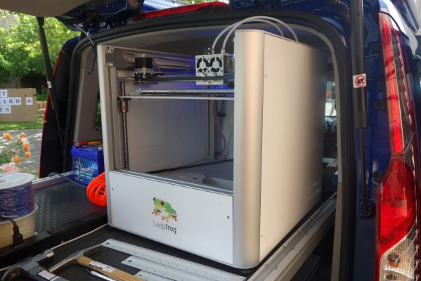 A Leapfrog Creatr sits on the rear bed slide and can even clear the rear door frame when the tray slides out.