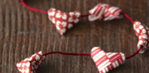 How-To: Mini Origami (Kirigami) Heart Garland